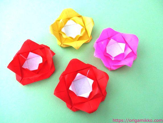 1 方 バラ 折り紙 折り 枚 簡単